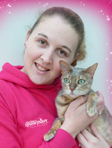 Kirstie Morley-Nice owner of Glitterpaws with Electra, a blue spotted bengal